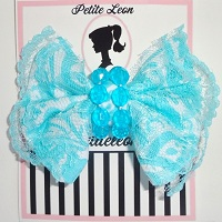 Aqua White Damask Lace Beaded Hair Bow