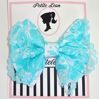 Aqua White Damask Lace Hair Bow