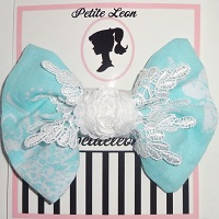 Aqua White Damask Venise Lace Rose Hair Bow
