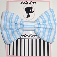 Baby Blue White Stripe Hair Bow