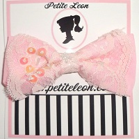 Baby Pink Lace Sequin Hair Bow