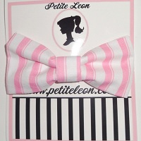 Baby Pink White Stripe Hair Bow