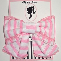 Baby Pink White Stripe Tails Hair Bow