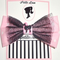 Baby Pink Black French Poodle Hair Bow