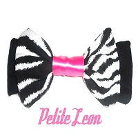 Zebra Hot Pink Satin Retro Rockabilly Hair Bow