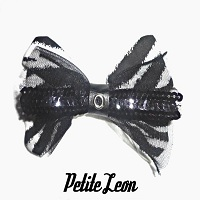 Zebra Black Sequin Tulle Hair Bow