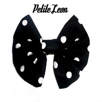 Polka Dots Hair Bow Black White