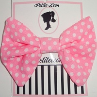 Coral Pink White Polka Dot Hair Bow