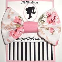 Cream Dusty Pink Roses Print Hair Bow