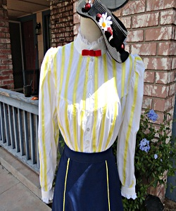 Edwardian White Yellow Ladys Blouse