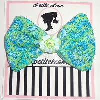 Green Blue Paisley Flower Hair Bow