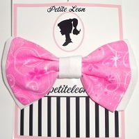 Hot Pink White Magical Glitter Hair Bow