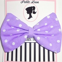 Lavender White Polka Dot Hair bow