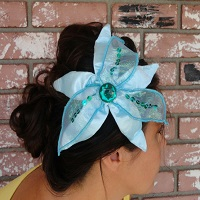Little Mermaid Aqua Hair Flower