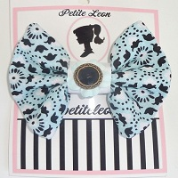 Mint Green & Black Lillies hair bow