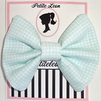 Mint Green White Gingham Hair Bow