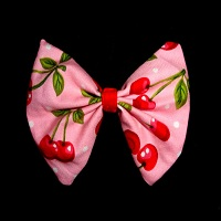 Cherry Hair Bow Large Pink