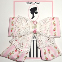 Pink Stripe Roses Cream Lace Tails Hair Bow