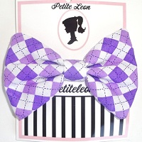 Purple Plaid Hair Bow
