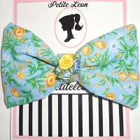 Spring Baby Blue Yellow Roses Hair Bow