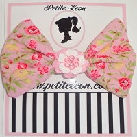 Dusty Pink Rose Flower Center Hair Bow