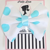 White Aqua Polka Dots Hair Bow