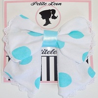 White Aqua Polka Dot Lace Tails Hair Bow