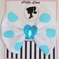 White Aqua Polka Dots Rhinestone Heart Hair Bow