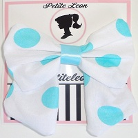 White Aqua Polka Dot Tails Hair Bow