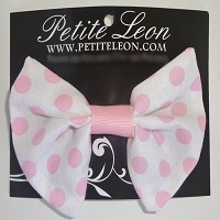 White Pink Polka Dots Hair Bow