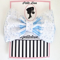Baby Blue White Stripe Lace Hair Bow